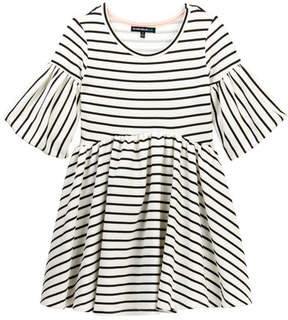 My Michelle mymichelle Striped Puff Sleeve Dress (Big Girls)