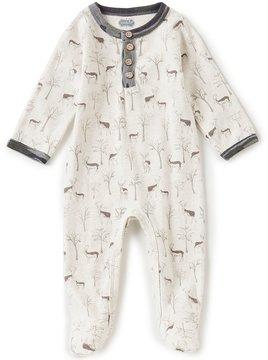 Mud Pie Baby Boys Newborn-9 Months Deer-Print Footed Coverall