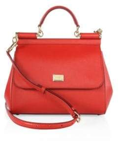 Dolce & Gabbana Medium Sicily Leather Top Handle Satchel - MEDIUM RED - STYLE