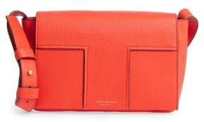 Tory Burch Block-T Pebbled Leather Shoulder Bag - ORANGE - STYLE