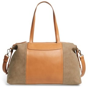 Sole Society Greyson Two-Tone Faux Leather & Faux Suede Duffel - Brown