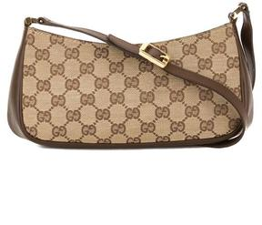 Gucci Brown Leather GG Monogram Canvas Shoulder Bag - BROWN - STYLE