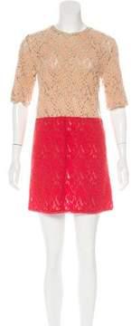 Au Jour Le Jour Embroidered Colorblock Dress