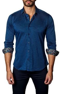 Jared Lang Men's Trim Fit Contrast Inset Sport Shirt