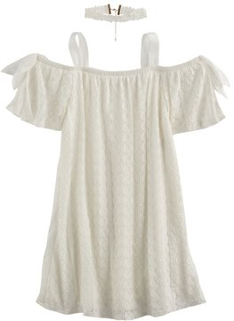 My Michelle Girls 7-16 Crochet Off Shoulder Trapeze Dress with Chocker Necklace
