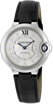 Cartier Ballon Bleu Automatic Silver Dial Diamond Black Leather Ladies Watch