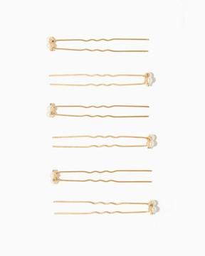 Charming charlie Trio Pearls & Pavé Hair Pins