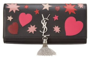 Saint Laurent Classic Kate Monogram Heart Leather Clutch. - BLACK - STYLE