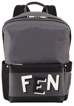 Fendi Vocabulary Men's Leather-Trim Backpack