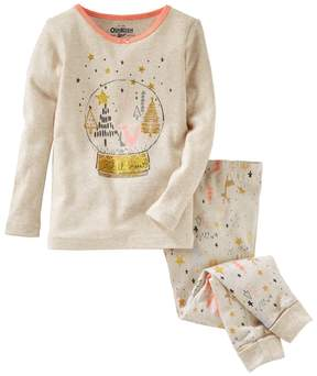 Osh Kosh Girls 4-14 Snow Globe Top & Tree Bottoms Pajama Set