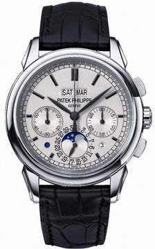 Patek Philippe Grand Complication Silver Dial Chronograph 18kt White Gold Black Leather Men's Watch