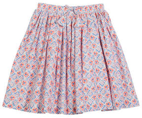 Joules Myla Coral-Print Cotton Skirt, Size 3-10