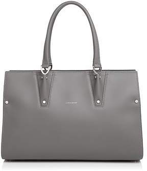 Longchamp Paris Premium Large Leather Shoulder Bag - GRAY/SILVER - STYLE