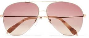 Victoria Beckham Aviator-style Gold-tone Sunglasses - Pink