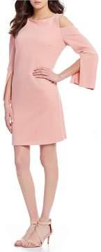 Isaac Mizrahi Imnyc IMNYC Bateau Neck Cold Shoulder Slit Bell Sleeve Shift Dress