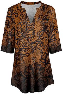 Azalea Brown & Black Lace Print Notch Neck Tunic - Women