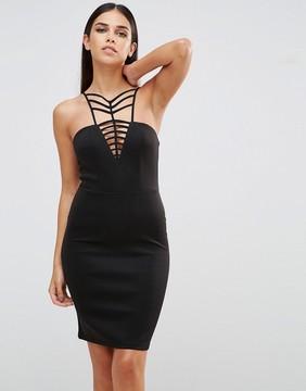 Club L V Neck Cage Detail Mini Dress