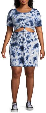 Arizona Short Sleeve Tie Dye T-Shirt Dresses - Juniors Plus