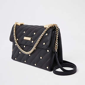 River Island Black pearl quilted cross body bag