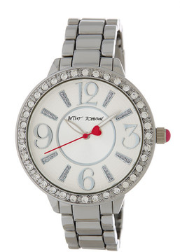 Betsey Johnson Women's Baguette Markets Crystal Accented Bracelet Watch
