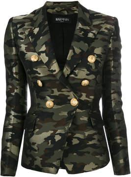 Balmain camouflage double breasted blazer