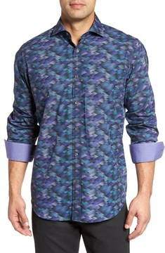 Bugatchi Men's Classic Fit Geo Print Sport Shirt