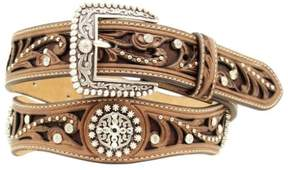 Ariat Western Belt Womens Scallop Cross Inlay Studs Brown A1513002