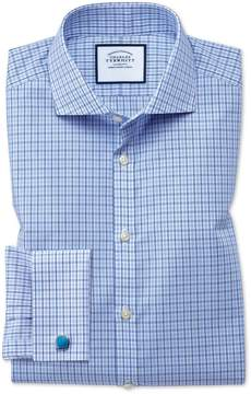 Charles Tyrwhitt Extra Slim Fit Cutaway Non-Iron Poplin Blue and Sky Blue Cotton Dress Shirt Single Cuff Size 15/32