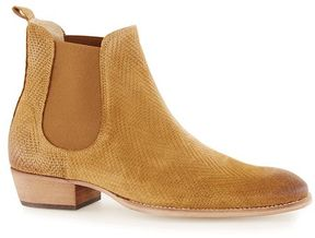 Topman Tan Suede Printed Chelsea Boots