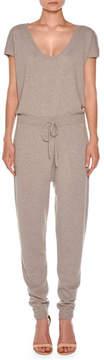 Agnona Short-Sleeve Cashmere Drawstring Jumpsuit, Taupe