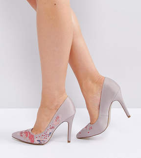 New Look Wide Fit Embroidered Point Heeled Shoes