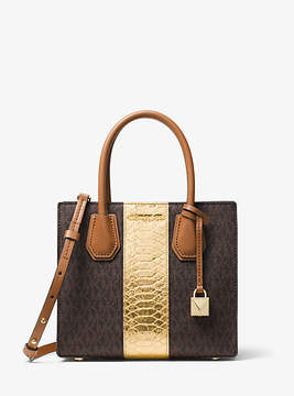 Michael Kors Mercer Logo And Embossed-Leather Crossbody - BROWN - STYLE