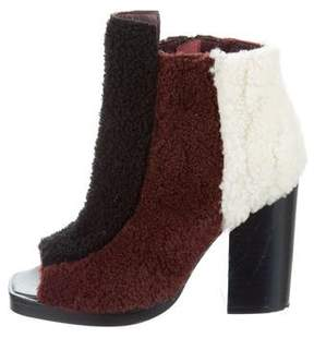 Opening Ceremony Shearling Peep-Toe Ankle Boots