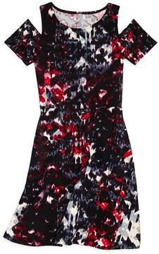 Aqua Girls' Cold-Shoulder Printed Dress, Big Kid - 100% Exclusive