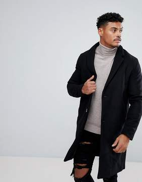 Pull&Bear Wool Overcoat In Black