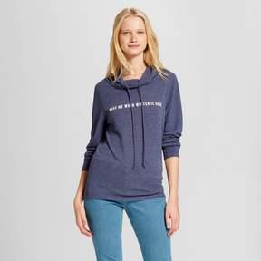 Fifth Sun Women's Wake Me When Winter is Over Graphic Cowl Sweatshirt Juniors') Navy