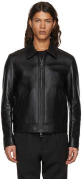Ami Alexandre Mattiussi Black Leather Zipped Jacket