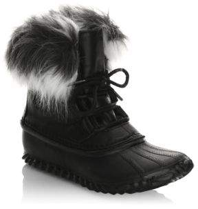 Sorel Leather Boots With Faux Fur Design