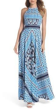 Eliza J Scarf Print Halter Neck Maxi Dress