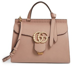 Gucci Gg Marmont Imitation Pearl Logo Top Handle Leather Satchel - Pink - PINK - STYLE