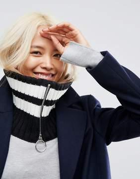 Asos Mono Stripe Infinity scarf With Ring Zip