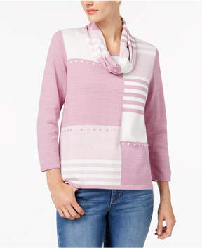 Alfred Dunner Winter Garden Patchwork Removable Scarf Sweater