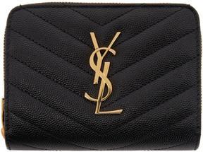 Saint Laurent Black Monogram Compact Zip Around Wallet - BLACK - STYLE