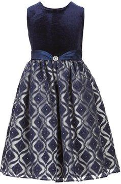 Jayne Copeland Big Girls 7-12 Velvet Bodice Solid/Patterned Fit-And-Flare Dress