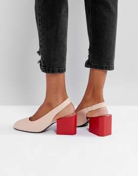 MANGO Contrast Block Heel Sling Back Shoe