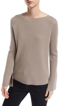 Neiman Marcus Long Split-Sleeve Crewneck Ribbed Cashmere Sweater