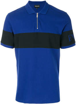 Emporio Armani zipped logo band polo shirt