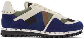 Valentino White and Blue Garavani Camo Rockstud Sneakers