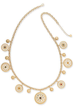 Charter Club Gold-Tone Colored Stone & Disc Long Charm Necklace, Created for Macy's