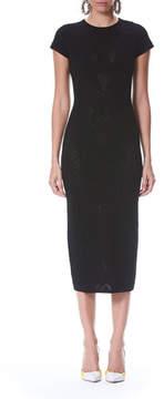 Carolina Herrera Short-Sleeve Pointelle Midi Sheath Cocktail Dress